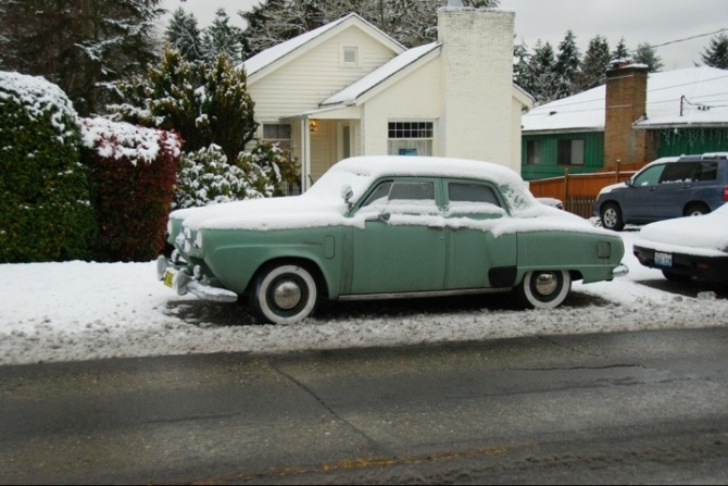 You don't see Studebakers parked in the snow every day