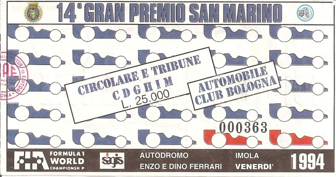 Imola Ticket Front - photo by Alan Dahl