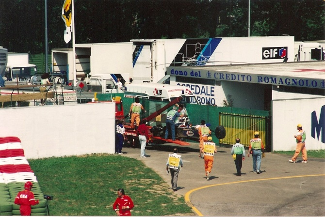 Senna's Williams is removed from the track - photo by Alan Dahl