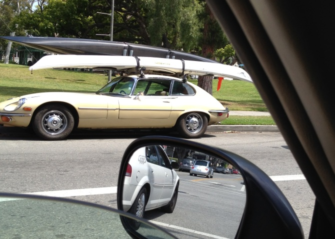 Jaguar e-type coupe kayak hauler