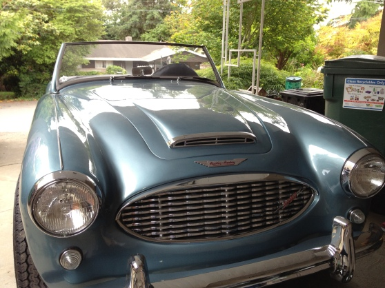The Healey in the Carport